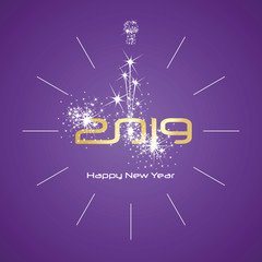 Happy New Year 2019 champagne firework midnight clock gold shining numbers purple background