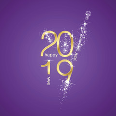 2019 Happy New Year firework champagne celebration gold purple banner greetings