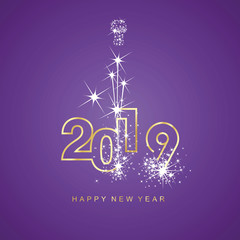 Happy New Year 2019 firework gold line design numbers purple background