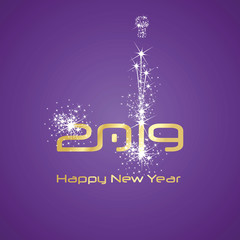 New Year 2019 cyberspace firework white purple background