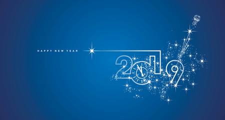 New Year 2019 midnight clock line design sparkle firework champagne white blue vector