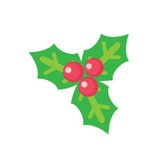 Holly Leaves with Red Berries Christmas Decoration