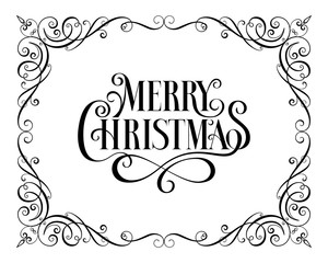 Christmas Callygraphic - hand drawn inscription. Lettering. Text for greeting card. Greeting frame.