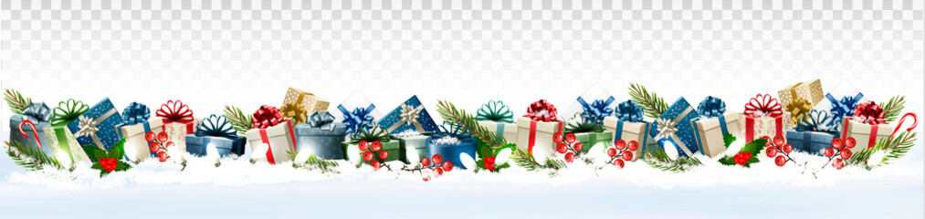 Holiday Christmas panorama with colorful gift boxes and Santa Hat on transparent background. Vector.