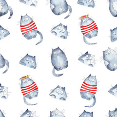 Seamless pattern with bright hand painted watercolor cute cats.