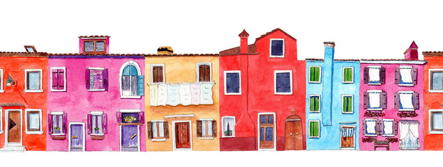Seamless border with bright hand painted watercolor cute houses.