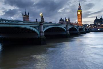 London Westminster Bridge at twilight.