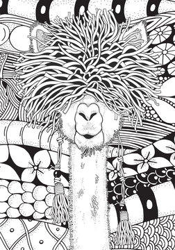 Coloring Book page for Adult and children. A4 Llama in zentangle style. Black and white monochrome background. Doodle hand-drawn.
