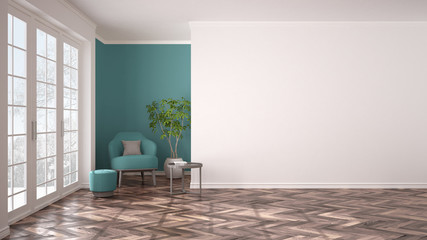 Empty white and turquoise interior with panoramic window, armchair, pouf, table and plant. Herringbone parquet floor, classic contemporary design, concept idea, copy space background Wall mural