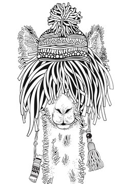 Llama with hat. Coloring Book page for Adult and children. Black and white. Doodle hand-drawn lama.