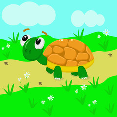 turtle in the meadow - vector  illustration, eps