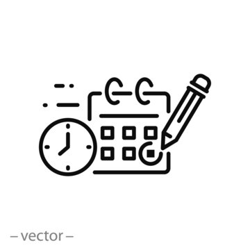 marking day icon, calendar reservation linear sign isolated on white background - editable stroke vector illustration eps10