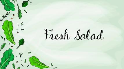 Vector Illustration of Salad Leaves Sketch Style