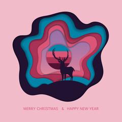 Deer and christmas.vector paper art.