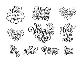 vector Set of black hand written lettering love phrases quotes to valentines day, love concept, wedding design template