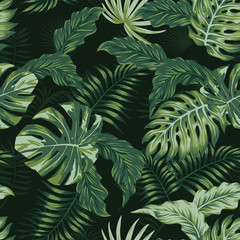 evening summer jungle tropical leaves seamless pattern
