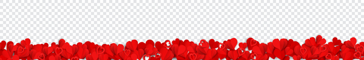 Horizontal banner with many red paper volume hearts, on transparent background