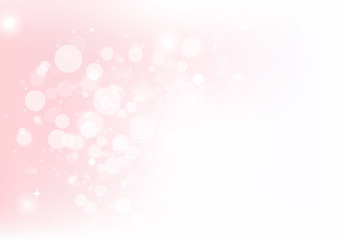 Fantasy magical bokeh circles bubble blurry scatter with stars dust glitter sparkle pink pastel concept abstract background vector illustration using for cosmetic product