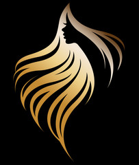 illustration vector of woman silhouette golden icon