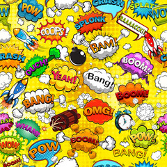 Comic speech bubbles seamless pattern on yellow background vector illustration