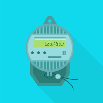 Electric meter icon. Flat illustration of electric meter vector icon for web design