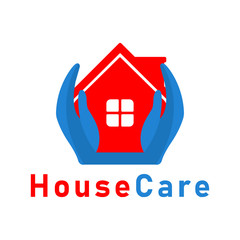 Vector House Care Hand Logo design template.