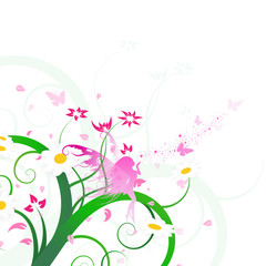 Floral design, fairy fantasy, butterfly and flowers scatter art brush sakura concept abstract background vector illustration