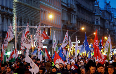 Protest against the new labour law in Budapest
