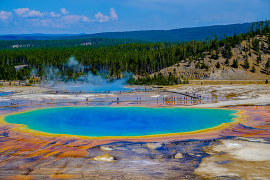 Natural Beauty and Patterns of the Grand Prismatic Spring, Yellowstone NP