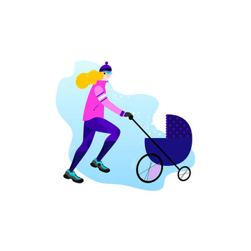 Winter running concept. Young athletic woman with stroller doing jogging. Vector illustration in flat style