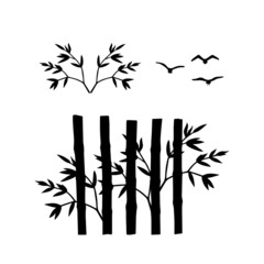 Black silhouettes isolated on white background. The stems of bamboo and branches with leaves and birds. Elements for decoration. Vector illustration