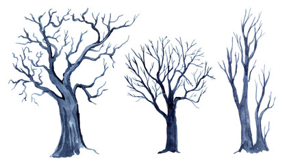Watercolor set of tree silhouettes isolated on white background , silhouette of trees
