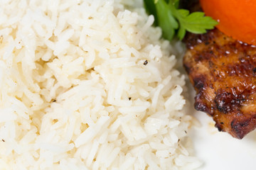 Cooked rice for grilled chicken tabaka.