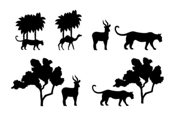 Set of Compositions of vector black silhouettes isolated on a white background. Predator and prey under the tree. Tiger and antelope. Wildcat, camel, palm tree