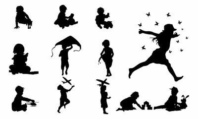 set of Happy Child Playing silhouette vector - Vector