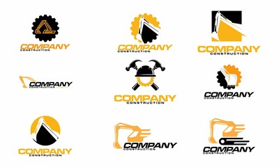 set of engineering and excavator logo design template
