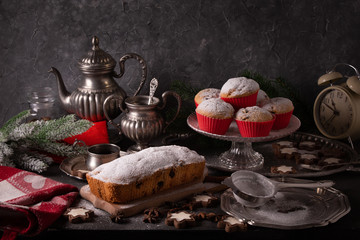 Beautiful christmas concept with sweets and accessories