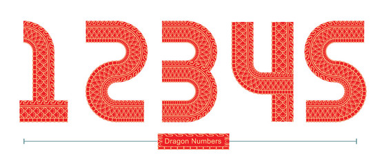 Numbers Red Dragon texture style in a set 12345 fonts vector