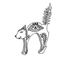 Cat sitting zentangle stylized, vector, illustration, pattern, freehand pencil, hand drawn. Zen art.