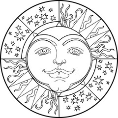 decorative pattern with young sun and stars