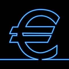 One line drawing of euro sign continuous line neon