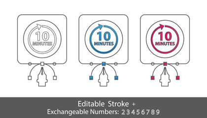 10 Minutes Symbol - Outline Styled Icon - Editable Stroke And Exchangeable Numbers - Vector Illustration - Isolated On White Background