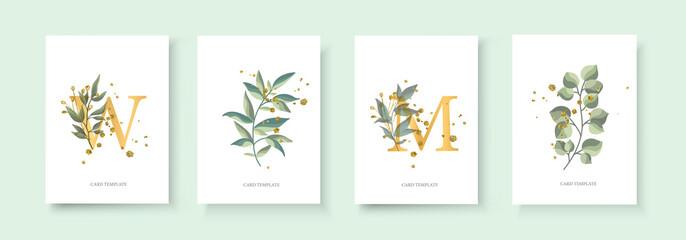 Wedding floral golden invitation card envelope save the date