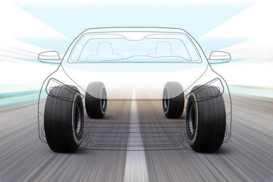 illustration of car on the road
