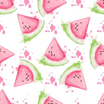 Slices of watermelon seamless pattern. Watercolor vector illustration.