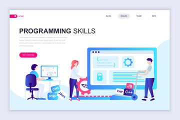 Modern flat web page design template of Programming Skills decorated people character for website and mobile website development. Flat landing page template. Vector illustration.