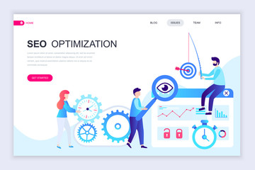 Modern flat web page design template of Seo Analysis decorated people character for website and mobile website development. Flat landing page template. Vector illustration.