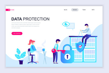 Modern flat web page design template of Data Protection decorated people character for website and mobile website development. Flat landing page template. Vector illustration.