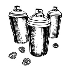 Sketch of the cans for graffiti. Vector illustration.