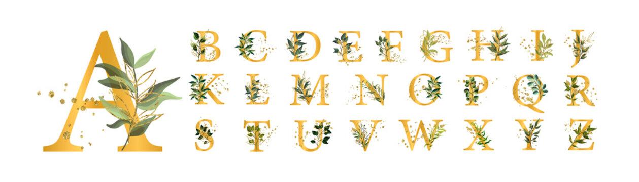 Golden floral alphabet font uppercase letters with flowers leaves gold splatters